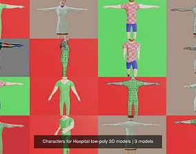 Characters for Hospital low-poly 3D models