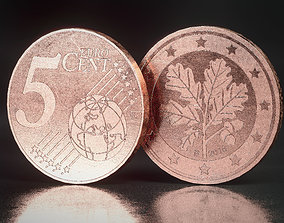 Realistic 5 Cent - Euro - Low poly 3D model realtime