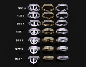 ID DIAMOND BAR CUBAN LINK CHAIN RING MIX 3D print model 7