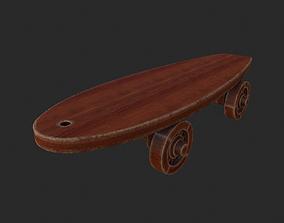 3D model Old wooden toy skateboard
