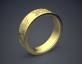 Classic Golden Engagement Ring 3D print model 4