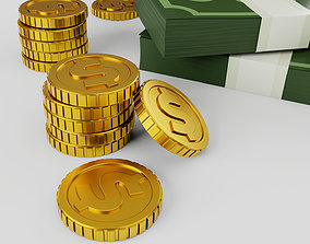 3D Pack of money cash and gold coins