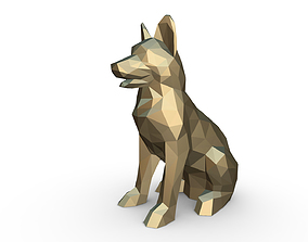German shepherd figure 2 origami 3D print model