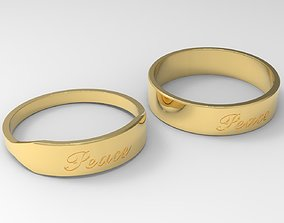 Peace Couple Ring with Gold 24k Brushed 3D printable model
