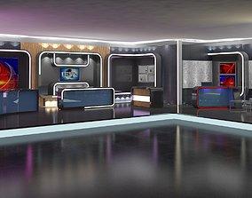 3D model TV Studio News Set 16