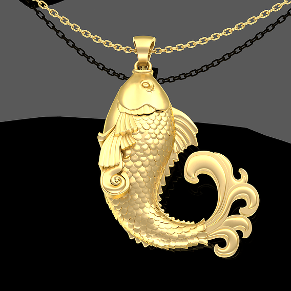 Sculpture Fish Pendant jewelry Gold 3D print model
