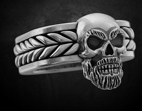 3D print model Ring with a skull and a beard 160