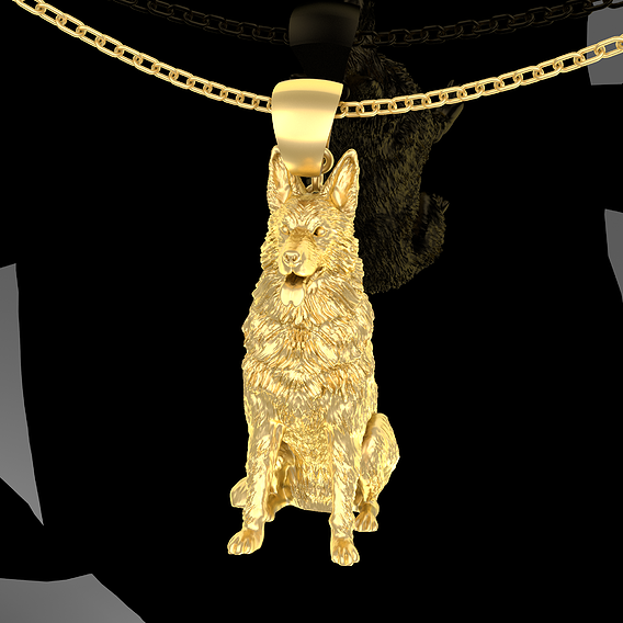 German Shepherd Pendant Jewelry Gold 3D print model