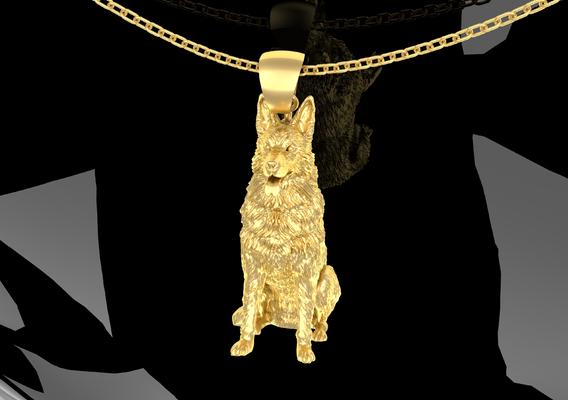 German Shepherd Pendant Jewelry Gold 3D print model