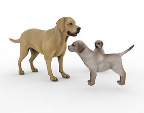 3D Dog with two puppies