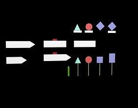 panneaux signalisation 3D asset
