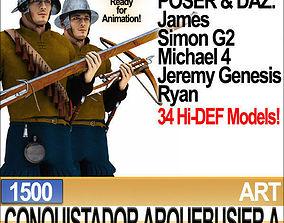 3D model Conquistador Arquebusier Props Poser Daz A 1500