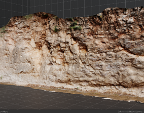 3d scanned cliff 003 low-poly