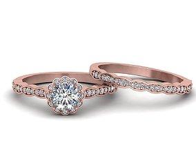 3D print model Wedding set vintage style moissanite ring