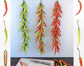 3D Chilli pepper bunch