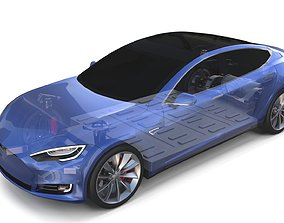 Tesla Model S 2016 Blue with Chassis