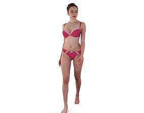 3D model Girl Walking In Underwear
