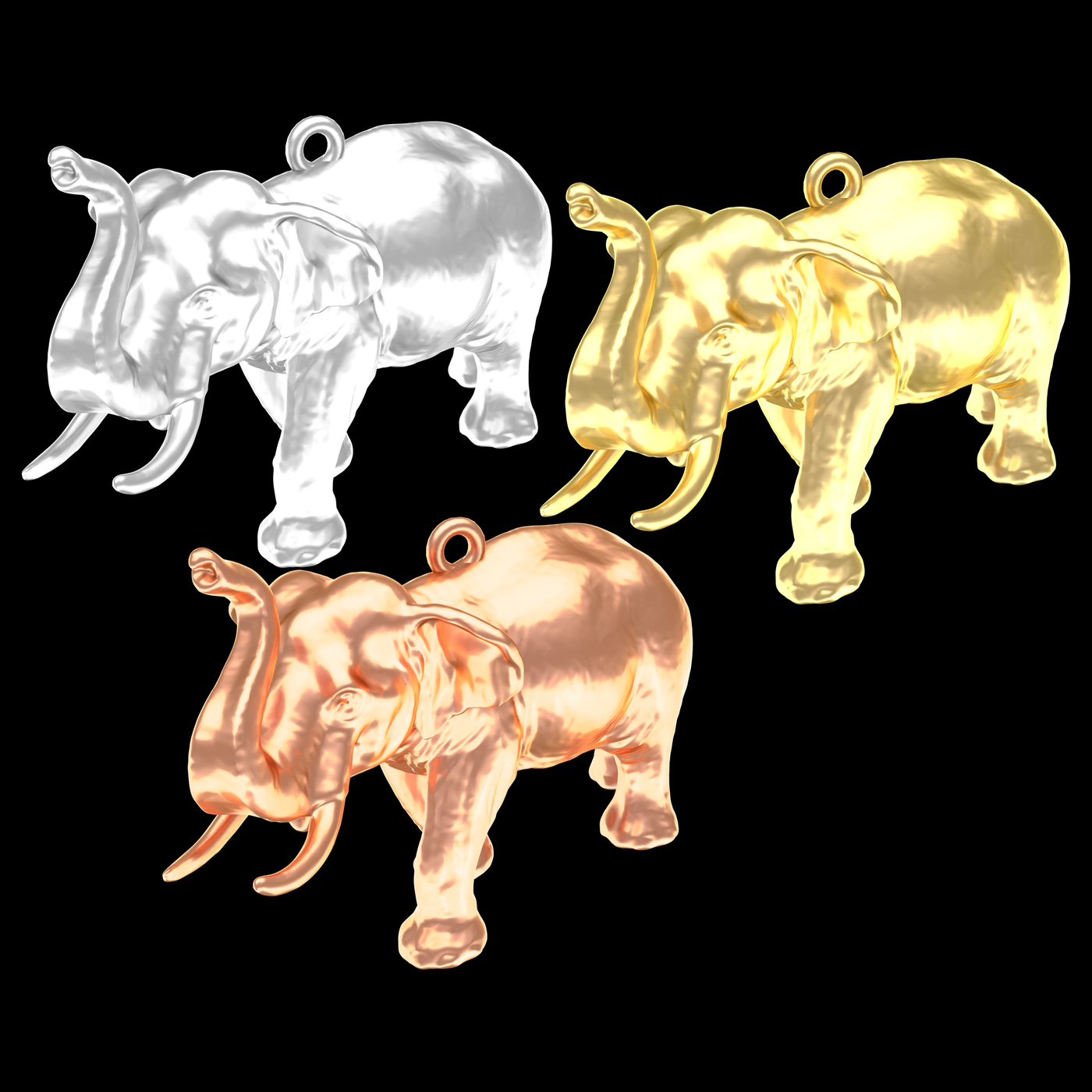 Big Elephant Pendant Jewelry Gold 3D print model