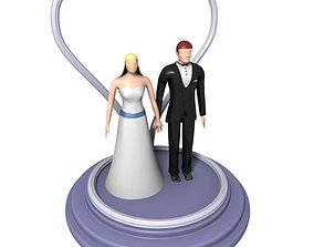 Wedding Cake Bride and Groom Figures 3D model