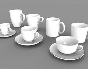 MUG AND CUP SET 3D MODELS game-ready