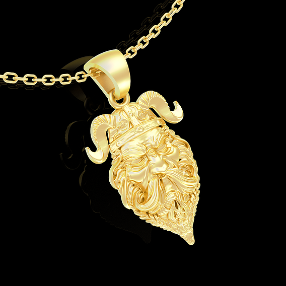 Viking Warrior Face Pendant jewelry Gold 3D print model