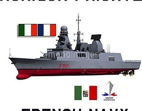 3D model French Italian Horizon Class Frigate Andrea Doria