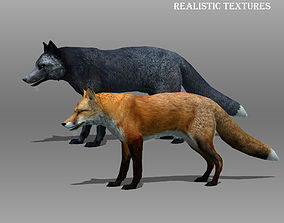 3D model Red and Black Fox