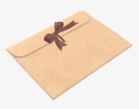 Gift paper envelope with bow mockup 3D
