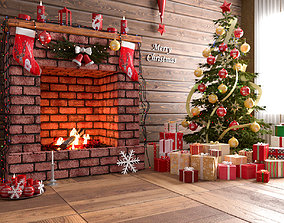 christmas fireplace 3d model