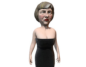 3D asset Theresa May caricature low poly game ready rigged