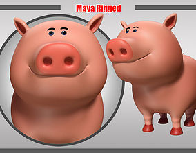 Pig Rigged rigged 3D asset game-ready