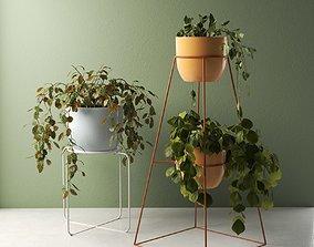 Montgolfier Pots with Plants 3D model