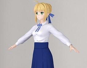 T pose nonrigged model of Saber anime girl