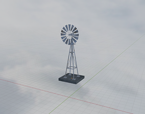 High Quality Textured WildWest Rusty Windmill Model rigged
