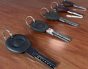 3D asset Realistic Door Key Lowpoly with a set of 5 PBR