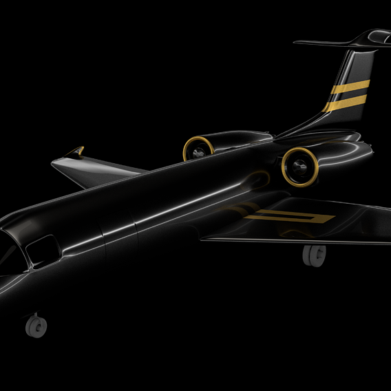 black plane with gold details