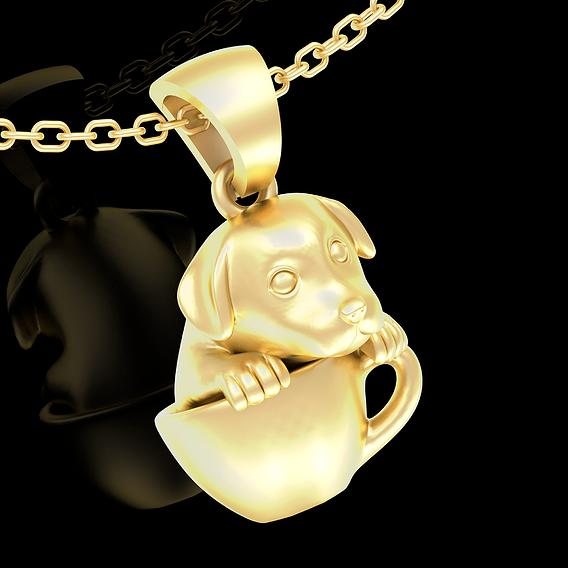 Dog Tea Cup Pendant jewelry Gold 3D print model
