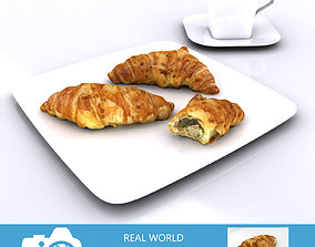 Croissants with Tea Cup 3D