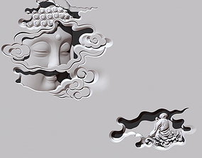 Buddha Head CNC carving statue 3D print model