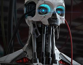3D High Poly Cyborg Bust sci-fi
