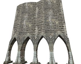 Gatehouse 01 With Arches Pillar 02 3D model