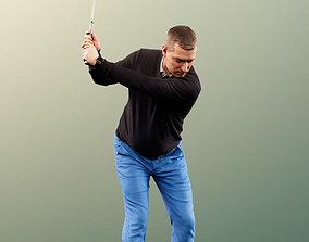 Steve 11780 - Golfer swinging at the ball 3D model