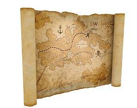 3D asset low-poly Treasure Map