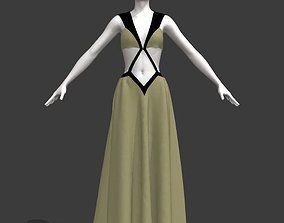 3D model Woman strap ball gown