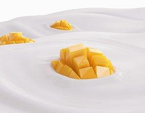 Mango slice 3D asset animated