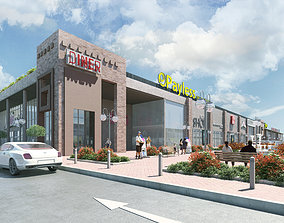 3D commerial complex mall shopping center