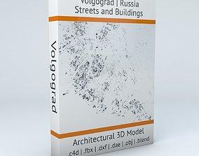 Volgograd Streets and Buildings 3D model cartography