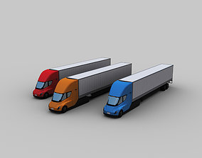 3D asset VR / AR ready Electric truck and Trailer Lowpoly