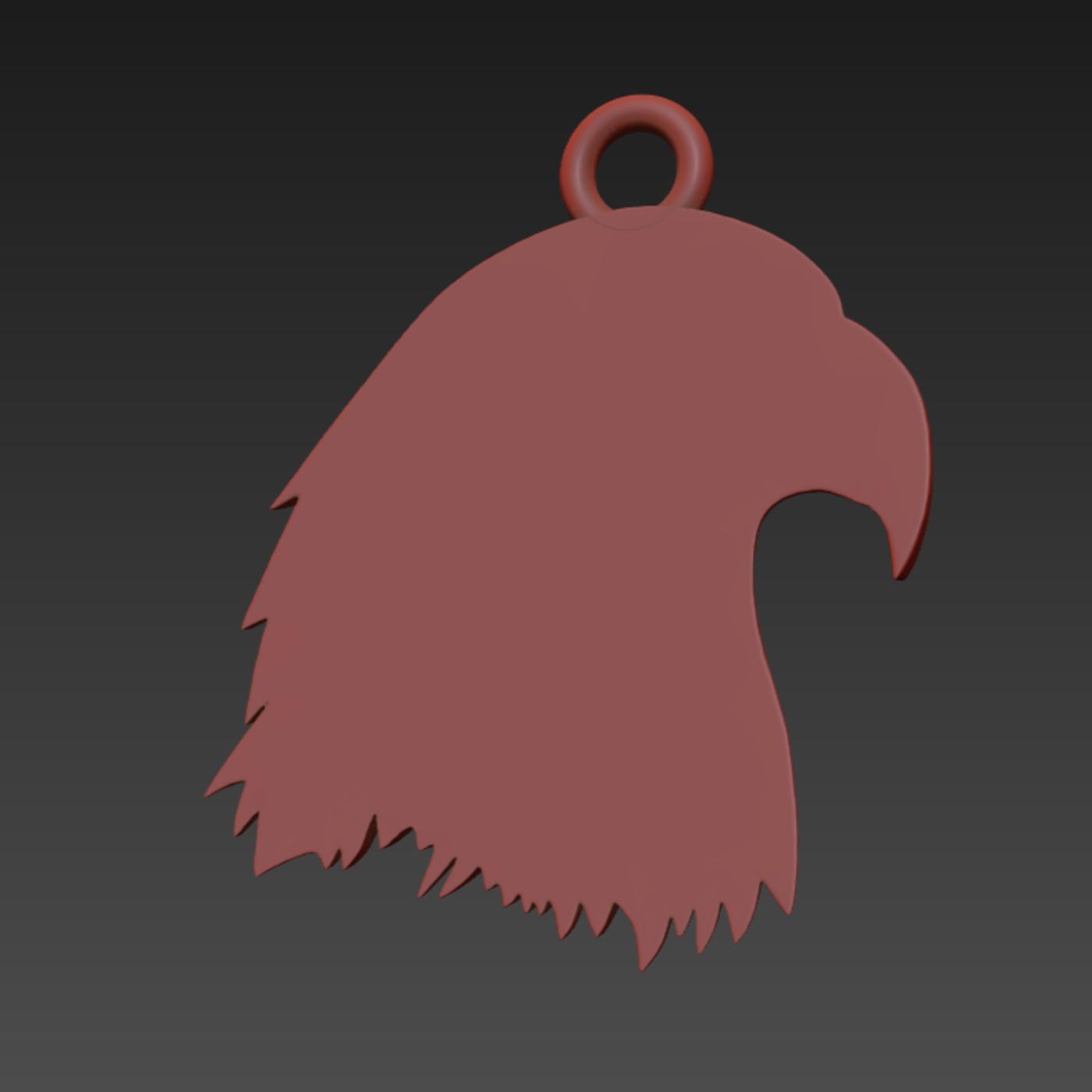 Eagle Head pendant jewelry gold necklace medallion 3D print model
