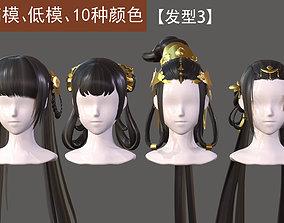 3D asset The girl hair Restoring ancient ways ponytail 2